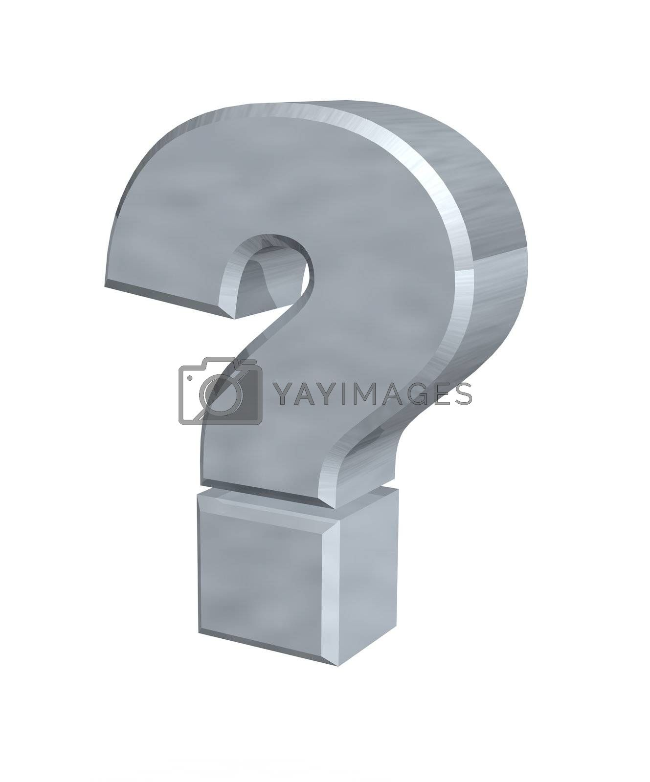 metal question mark  - 3d illustration