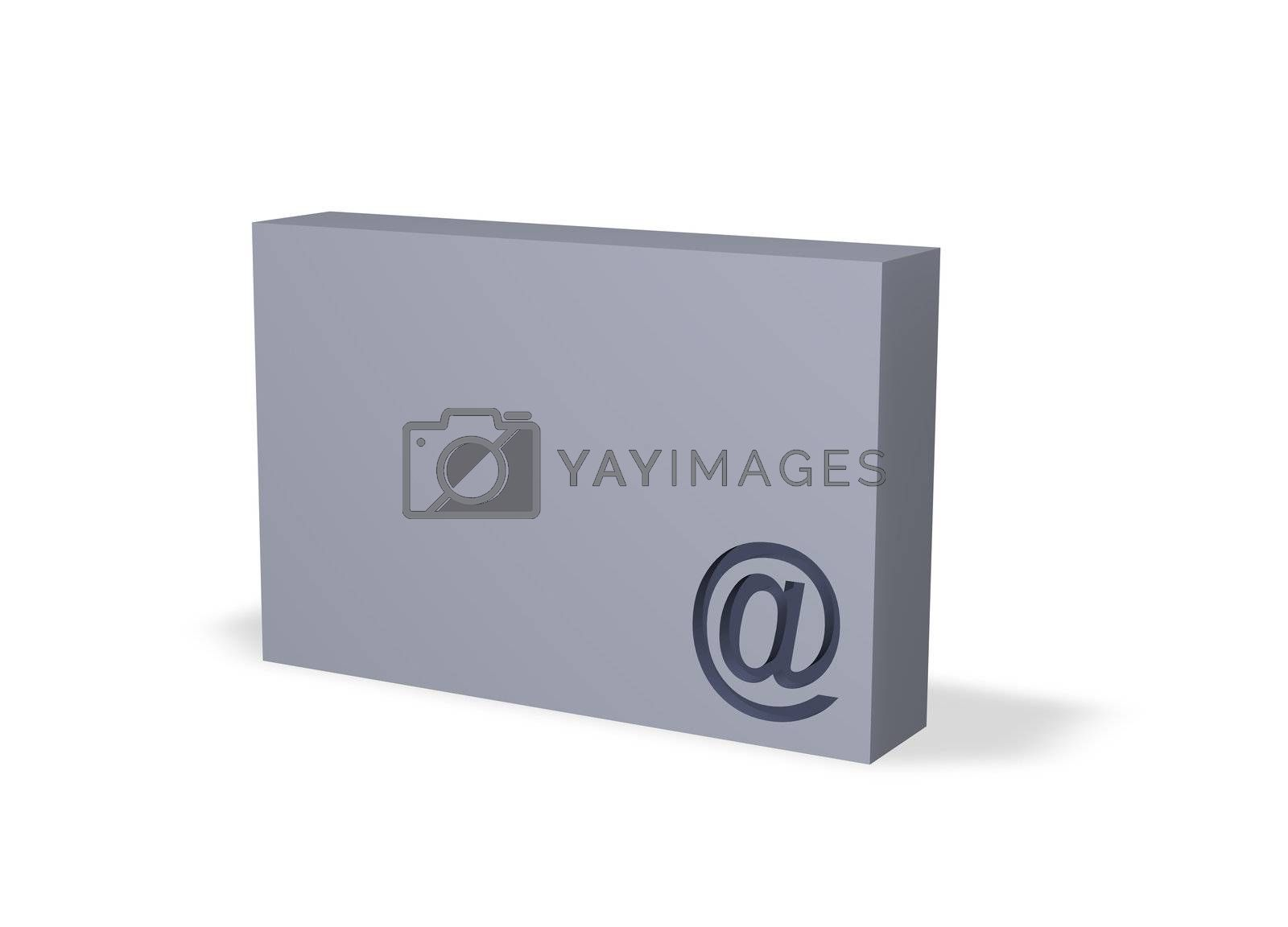 email alias on a box - 3d illustration