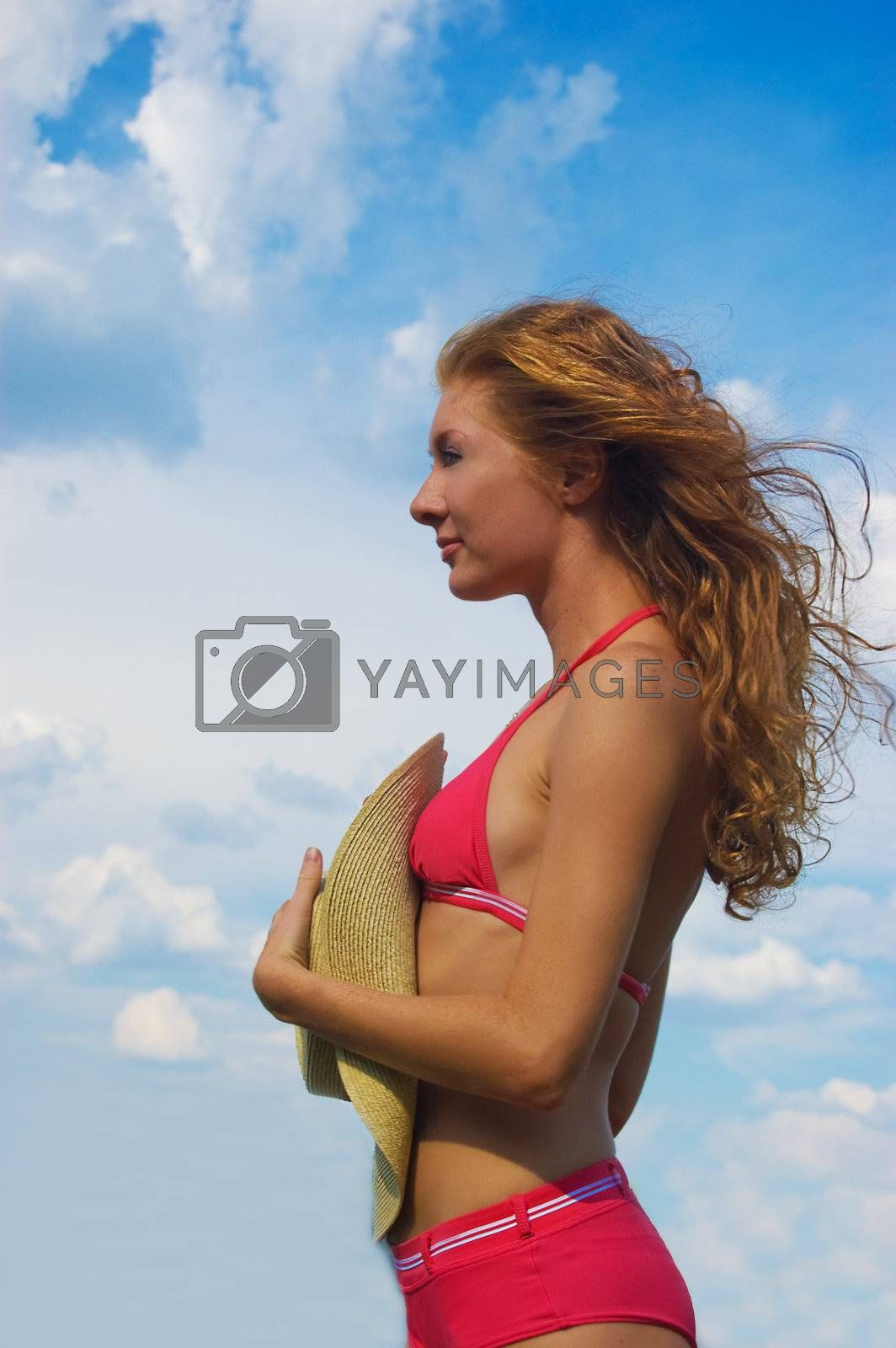 Royalty free image of Woman in bikini with flying hair by Angel_a