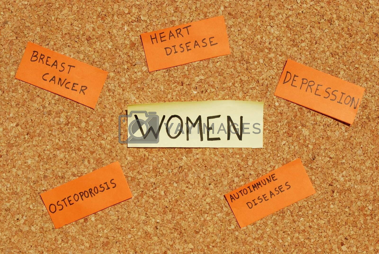 Royalty free image of Women's health concerns on a cork board by luissantos84