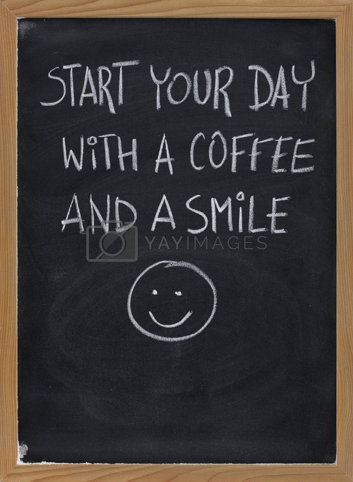 Royalty free image of start your day with coffee and smile by PixelsAway