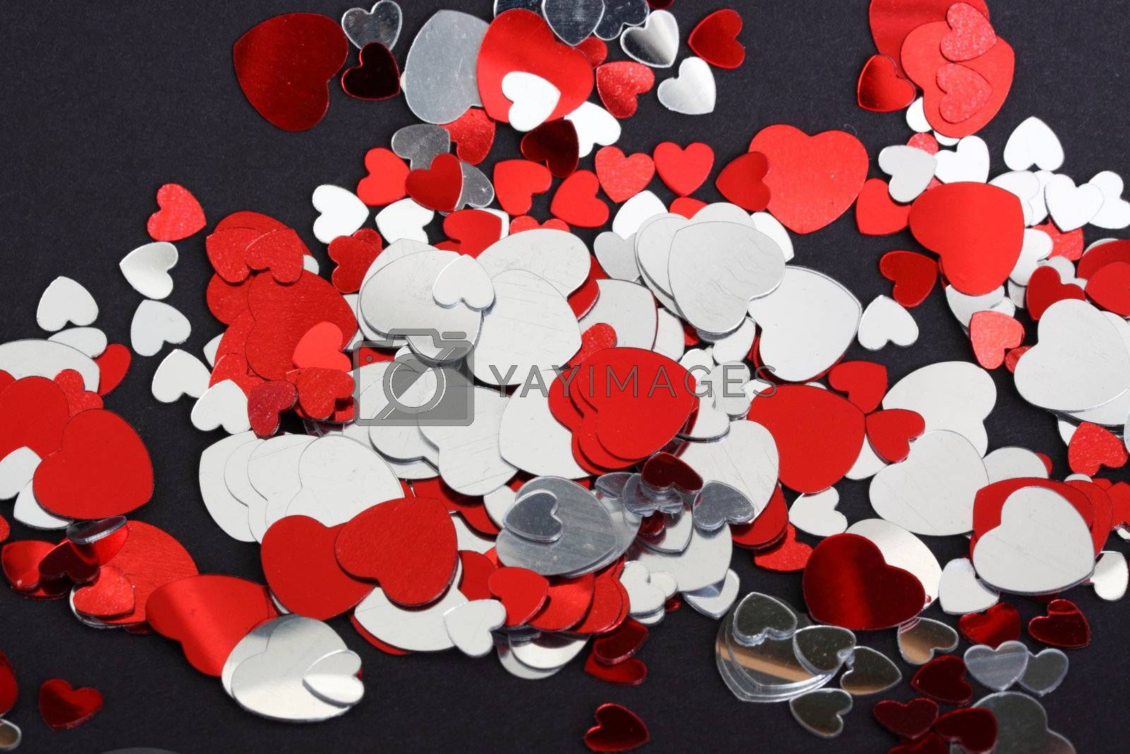 red and silver hearts