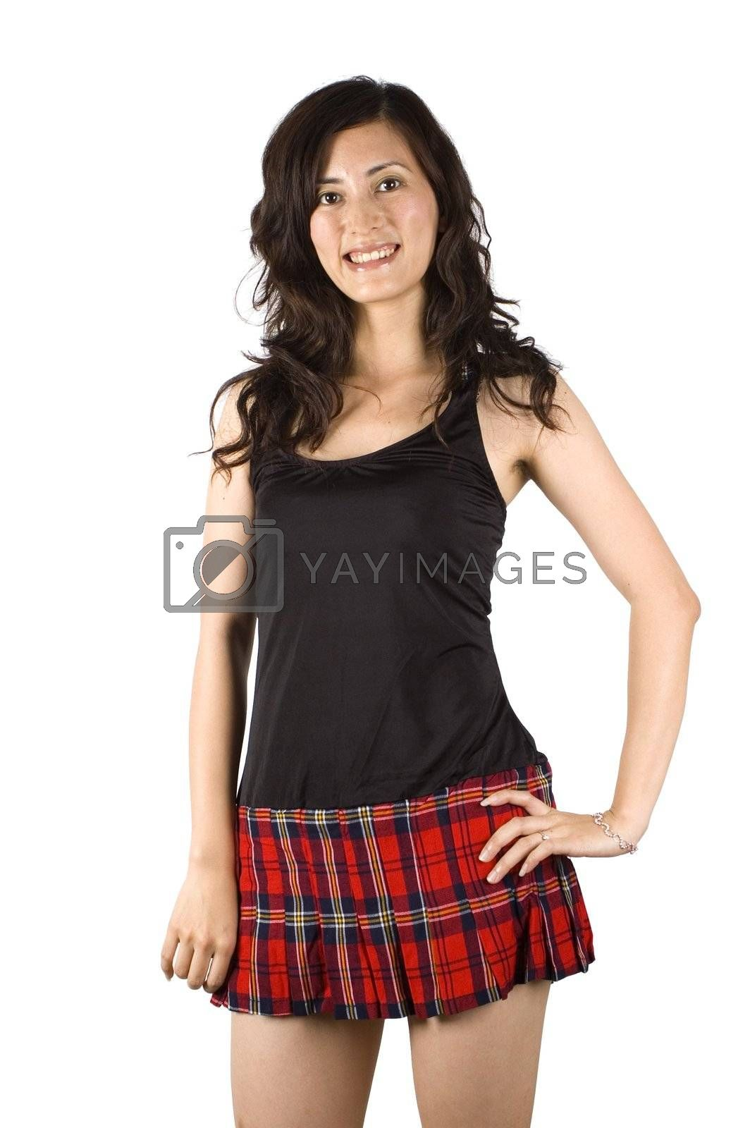 Royalty free image of Sexy Asian girl in short skirt by bartekchiny