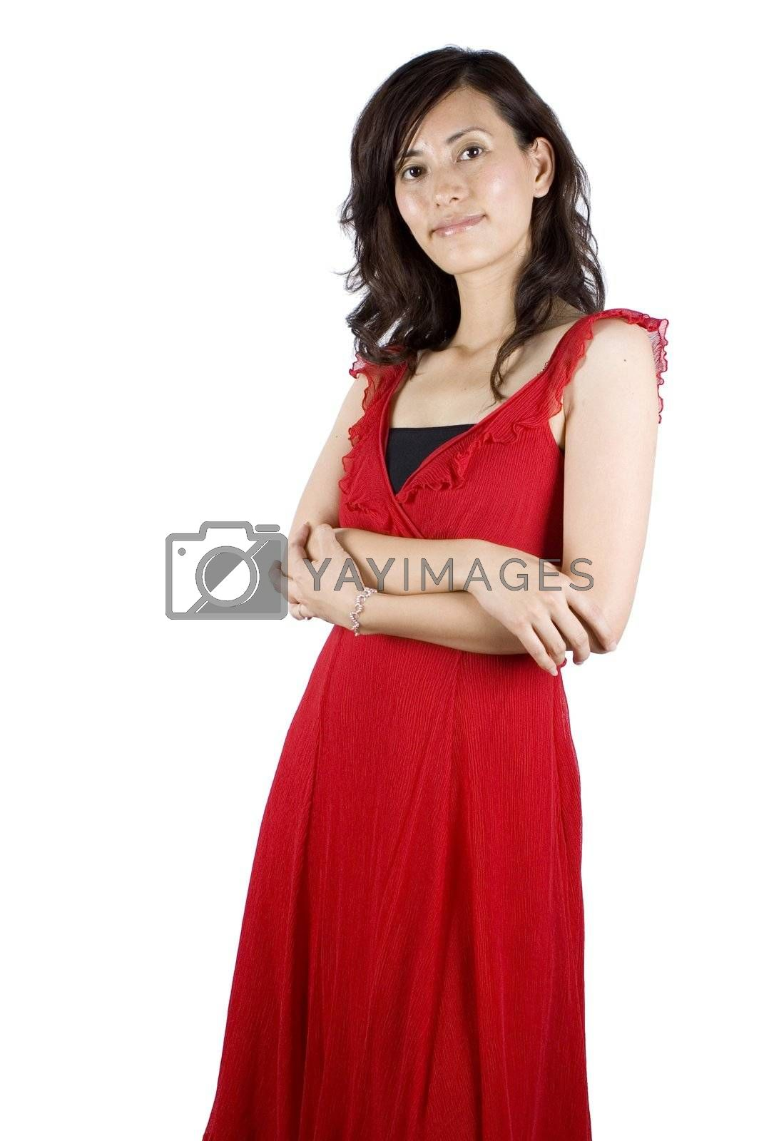 Royalty free image of Chinese girl in red skirt by bartekchiny