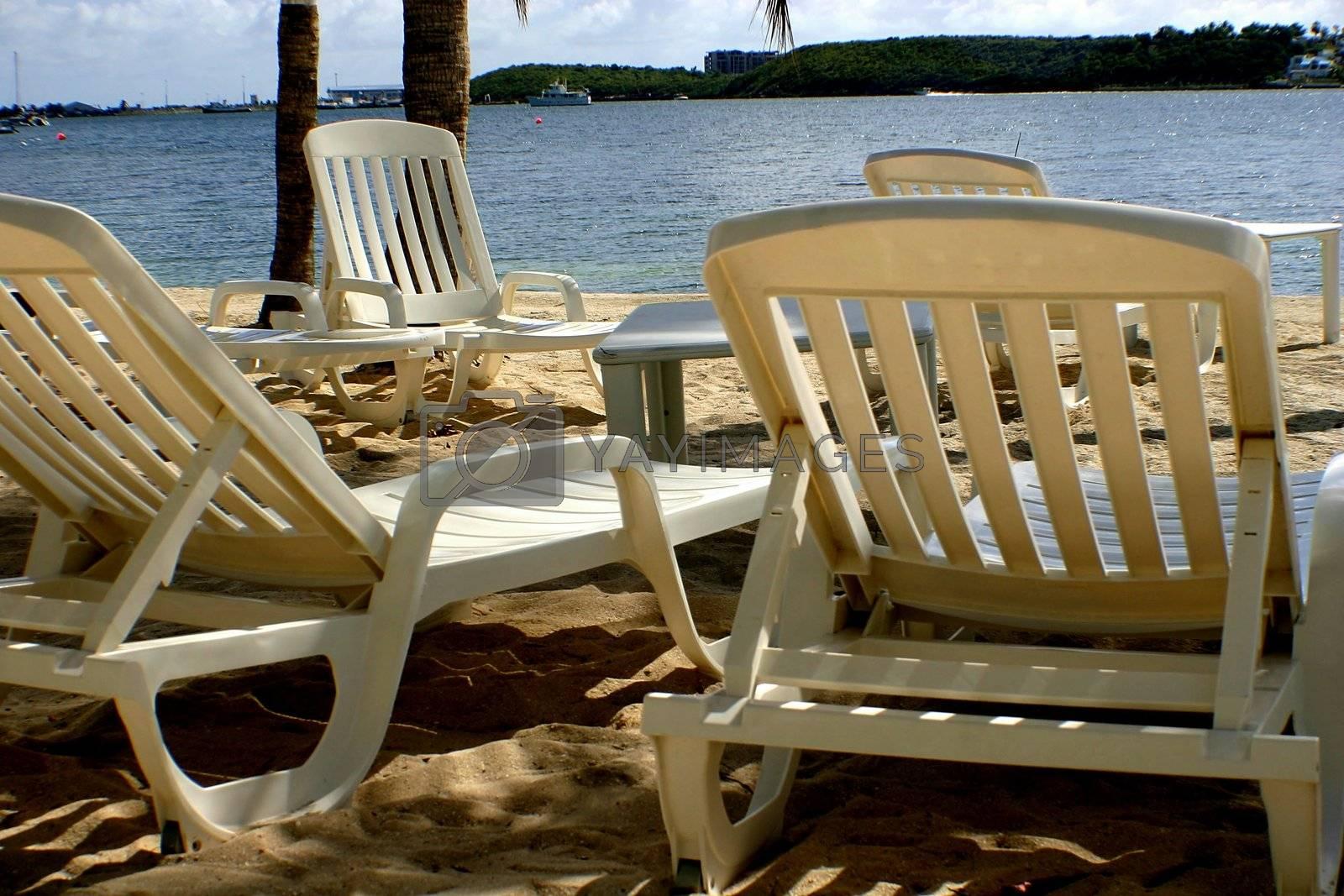 Beach lounge chairs under tropical sun