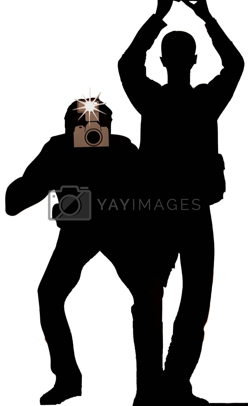 Silhouette of paparazzi photographers
