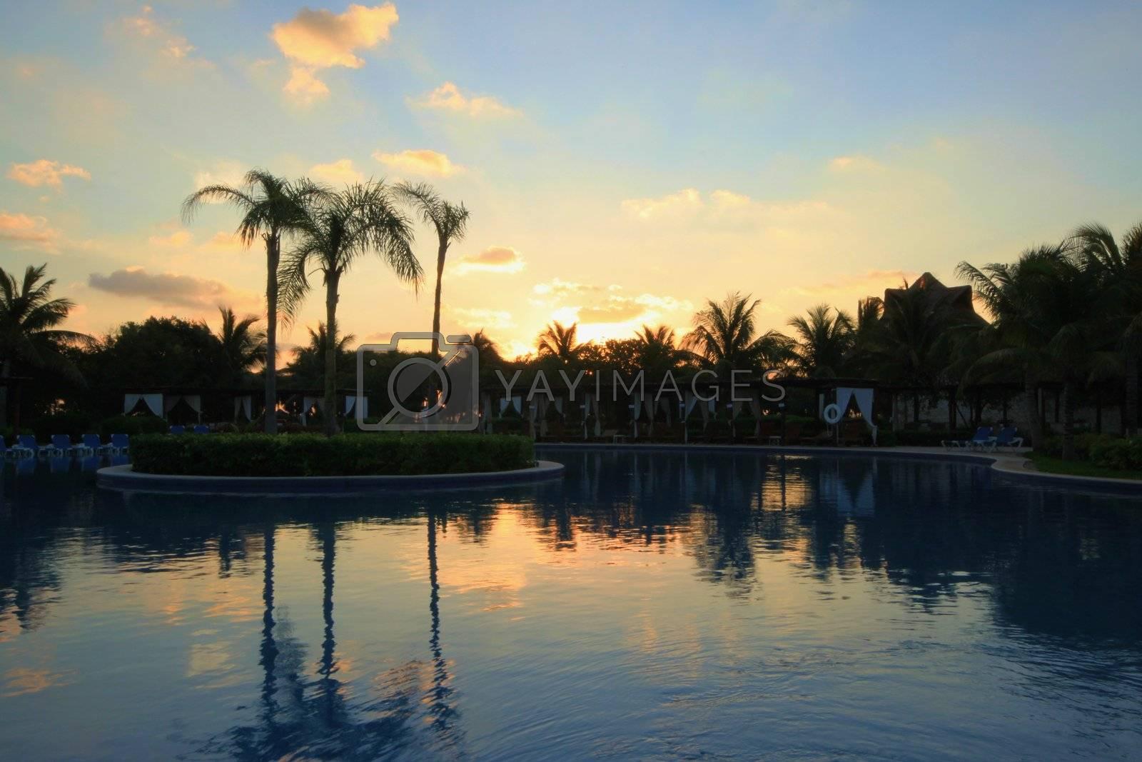 Resort pool taken at sunrise before crowd shows up