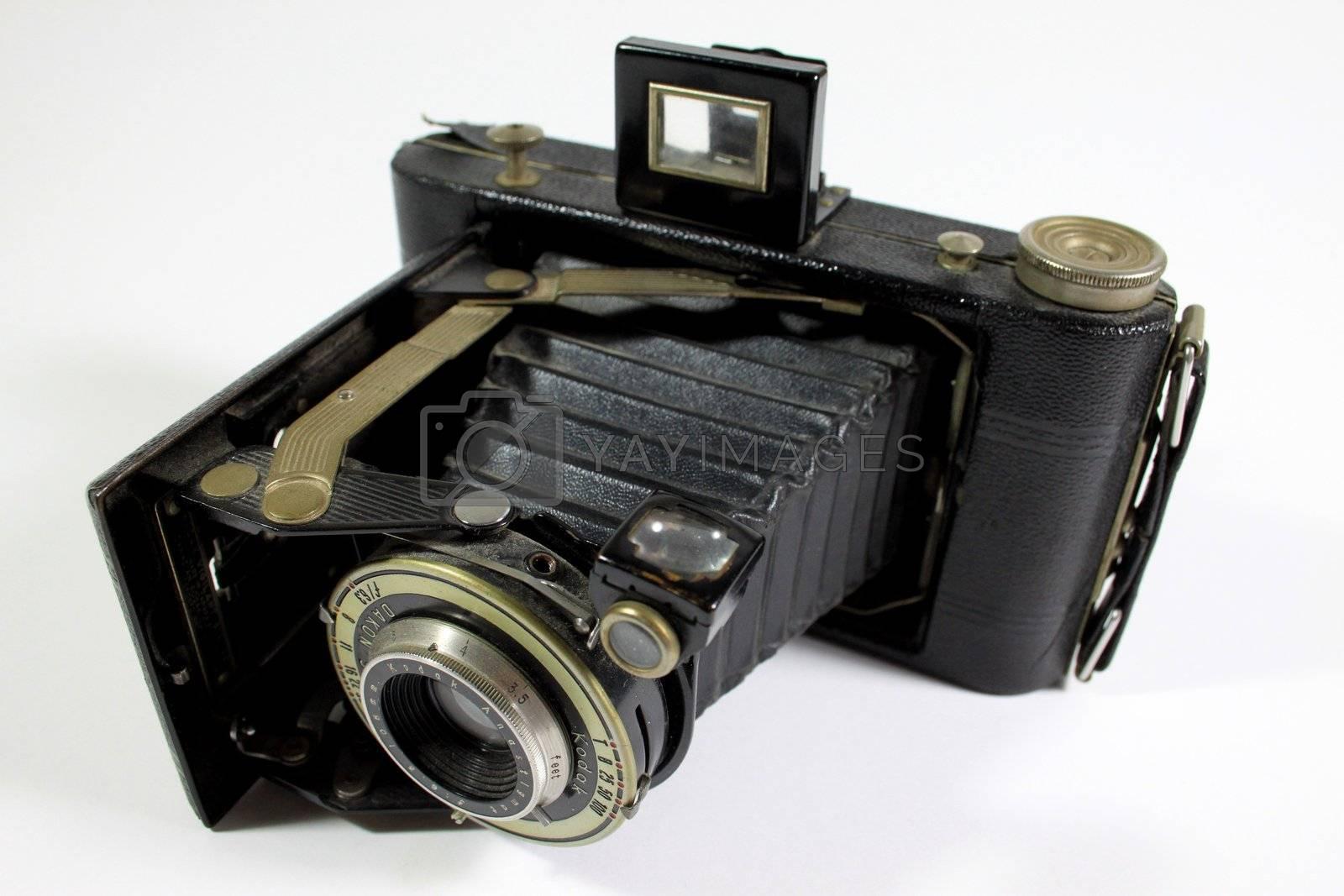 View of old Kodak Astigmatic camera and lense
