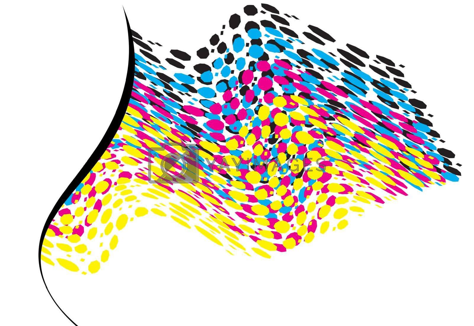 Royalty free image of wavy CMYK spots with copy space horizontal by karinclaus