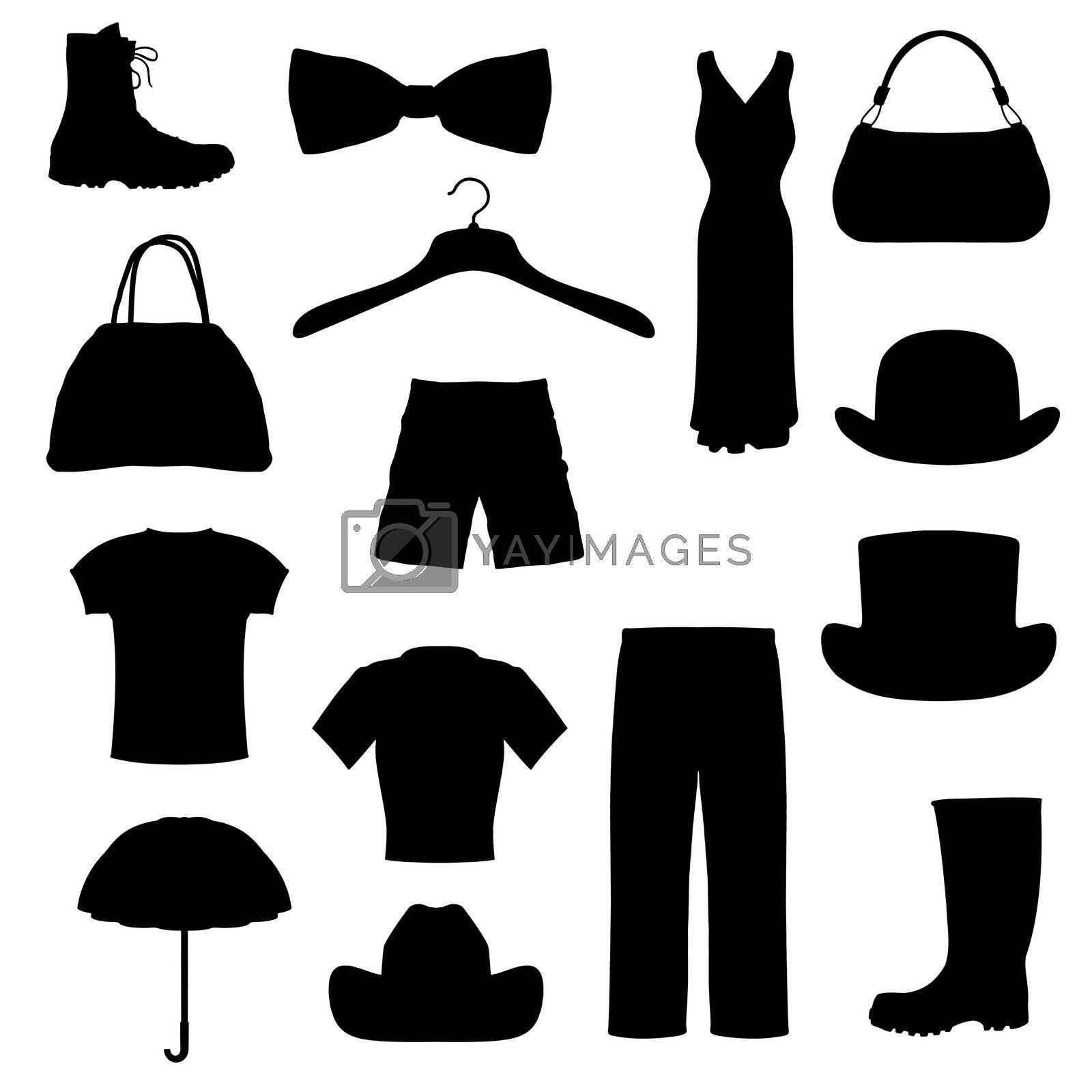 isolated silhouettes of different clothing and accessories