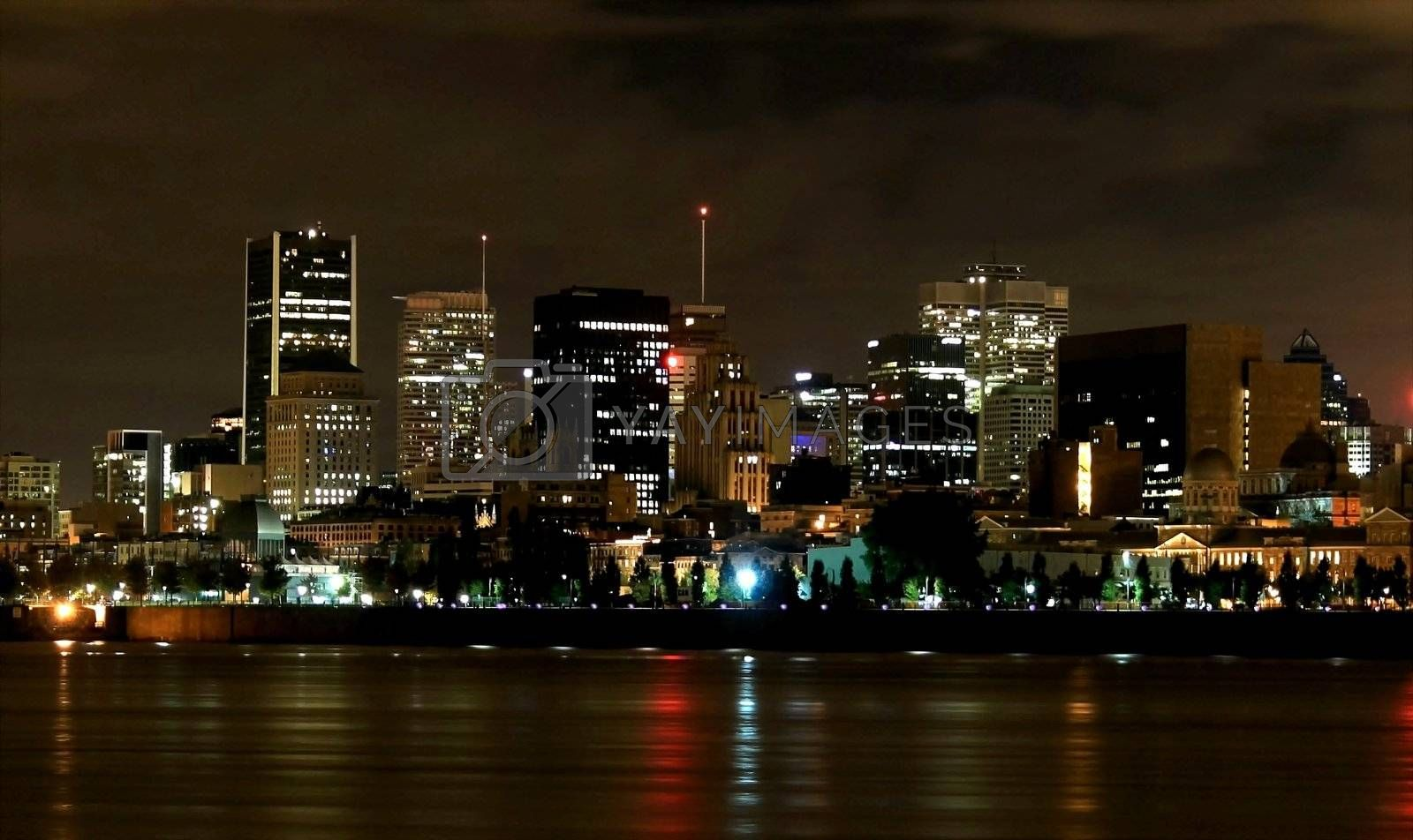 Water edge of Montreal skyline early winter morning