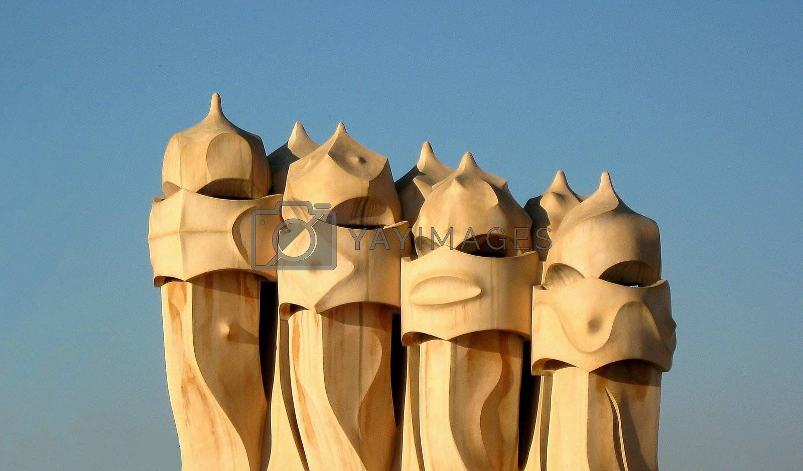 Details of chimneys created by Gaudi in Barcelona