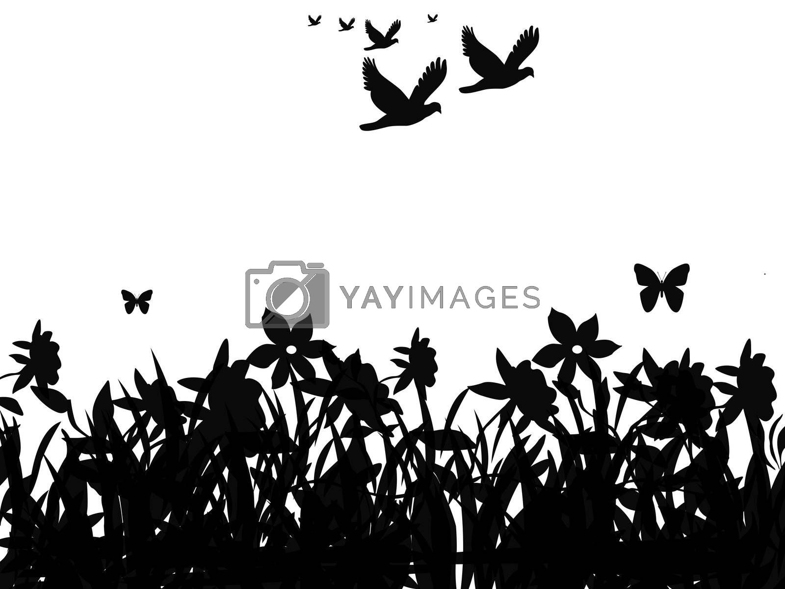 Silhouette of butterflies and flock of birds flying over field of flowers.