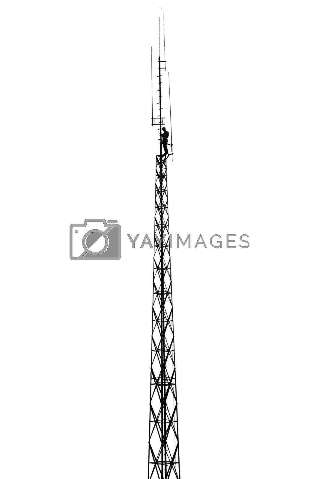 Technical inspection on a mast with antennas, white background