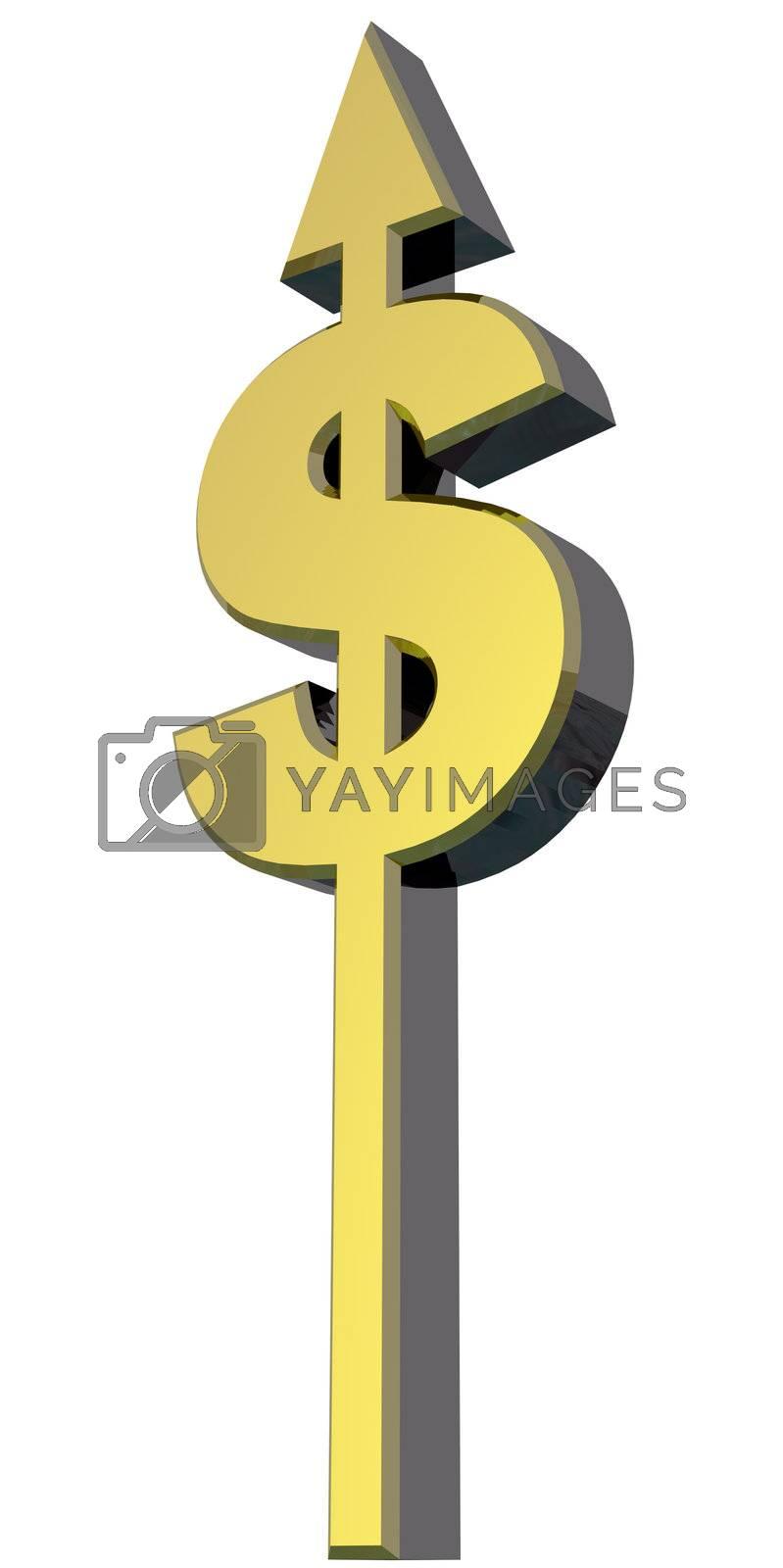 dollar sign with arrow - 3d illustration