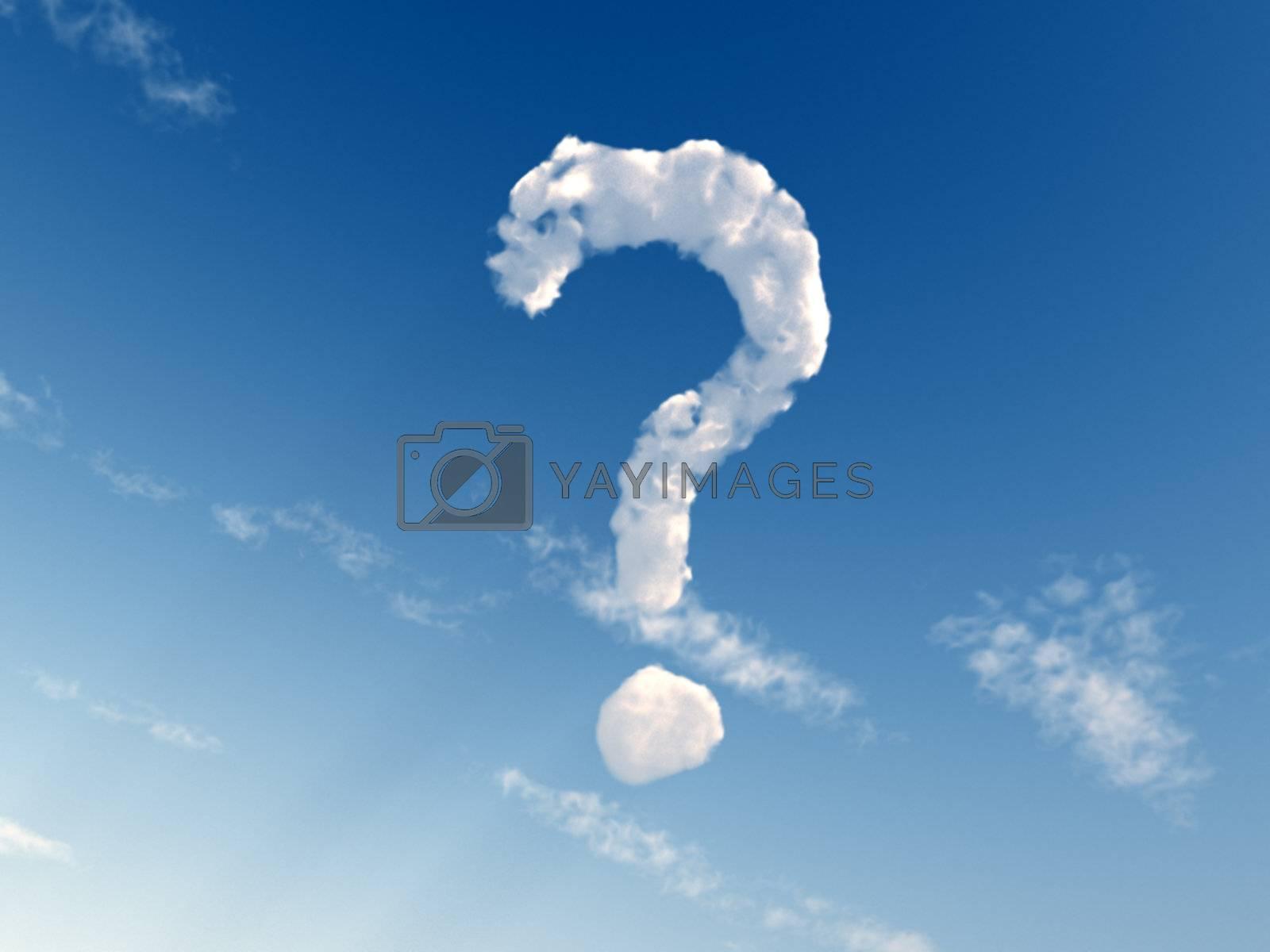 question mark on blue sky - 3d illustration