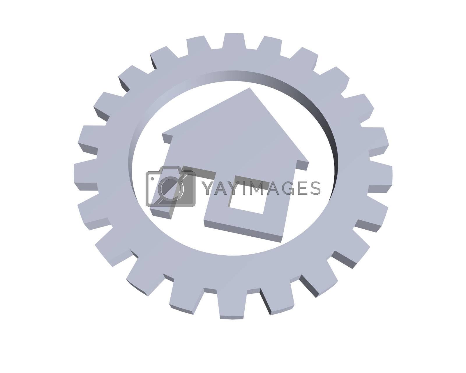house symbol in a gear wheel - 3d illustration