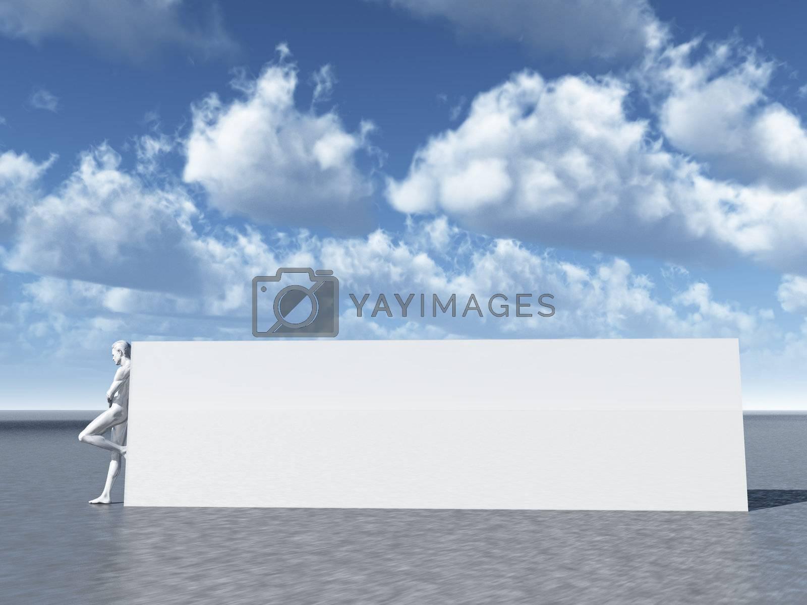 big blank sign and human figure - 3d illustration