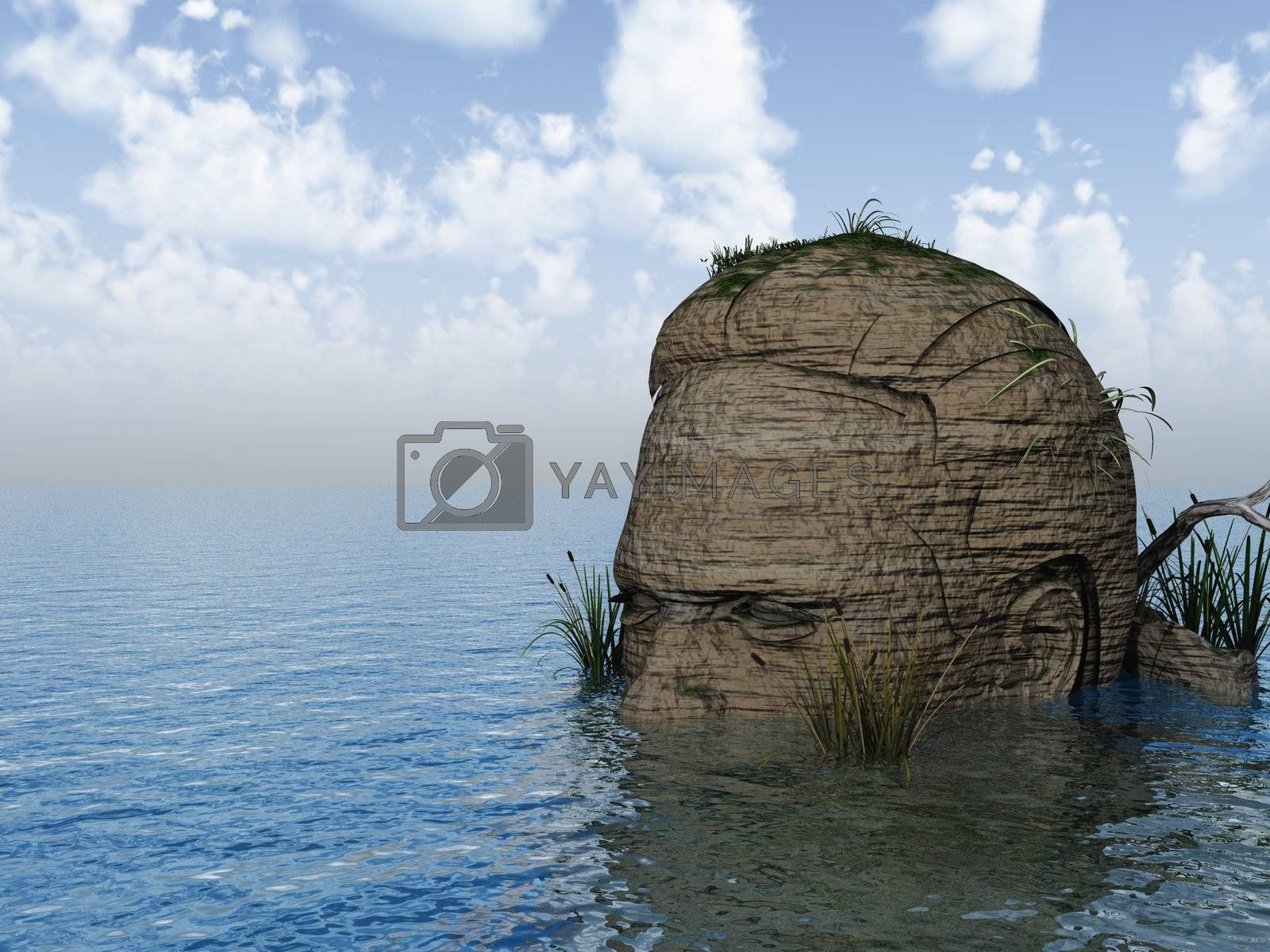 human head rock at the ocean - 3d illustration