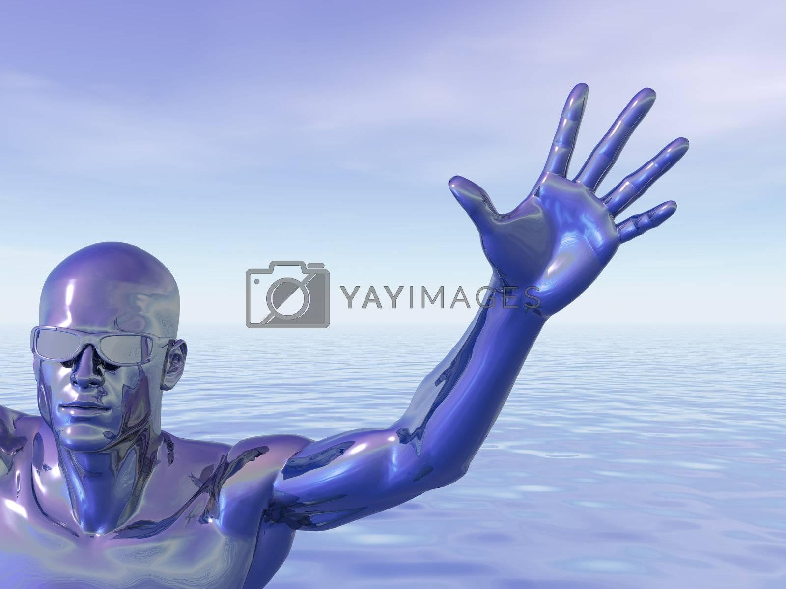surreal man figure with sunglasses - 3d illustration