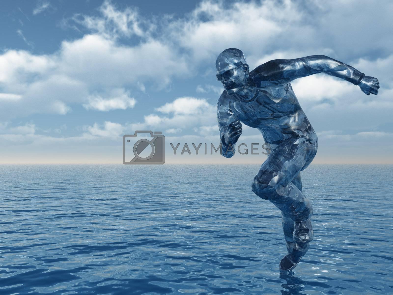 liquid man figure run over the water