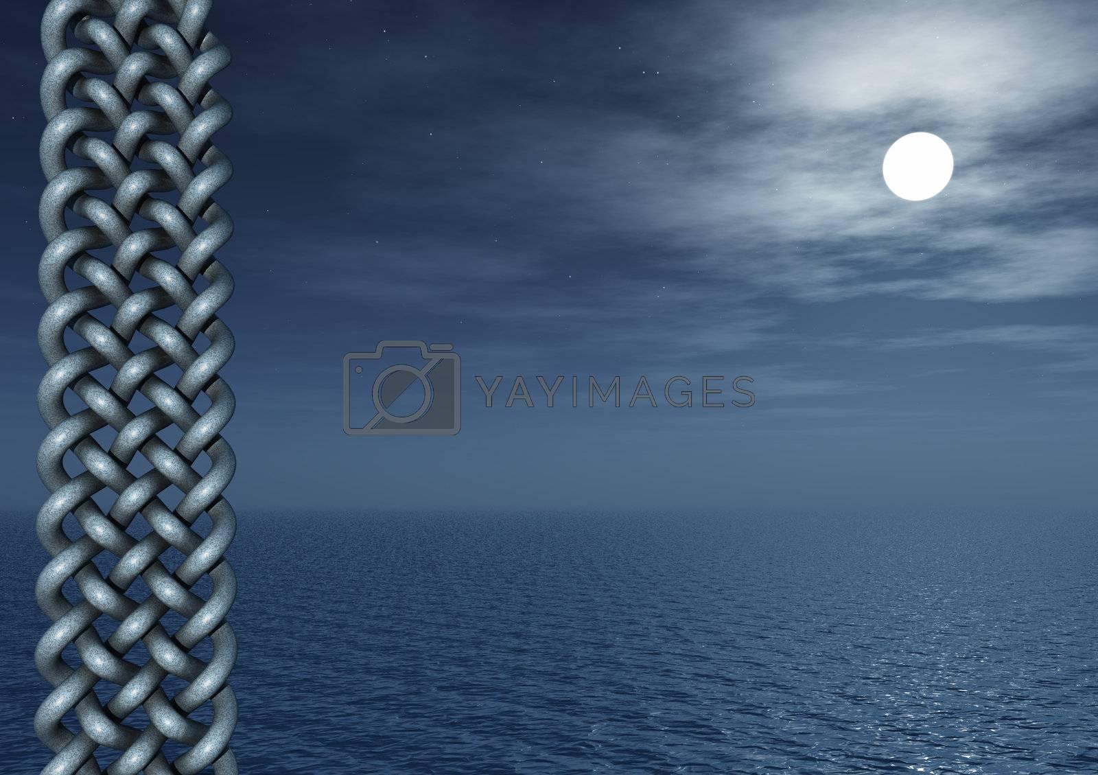 celtic art and water landscape at night - 3d illustration