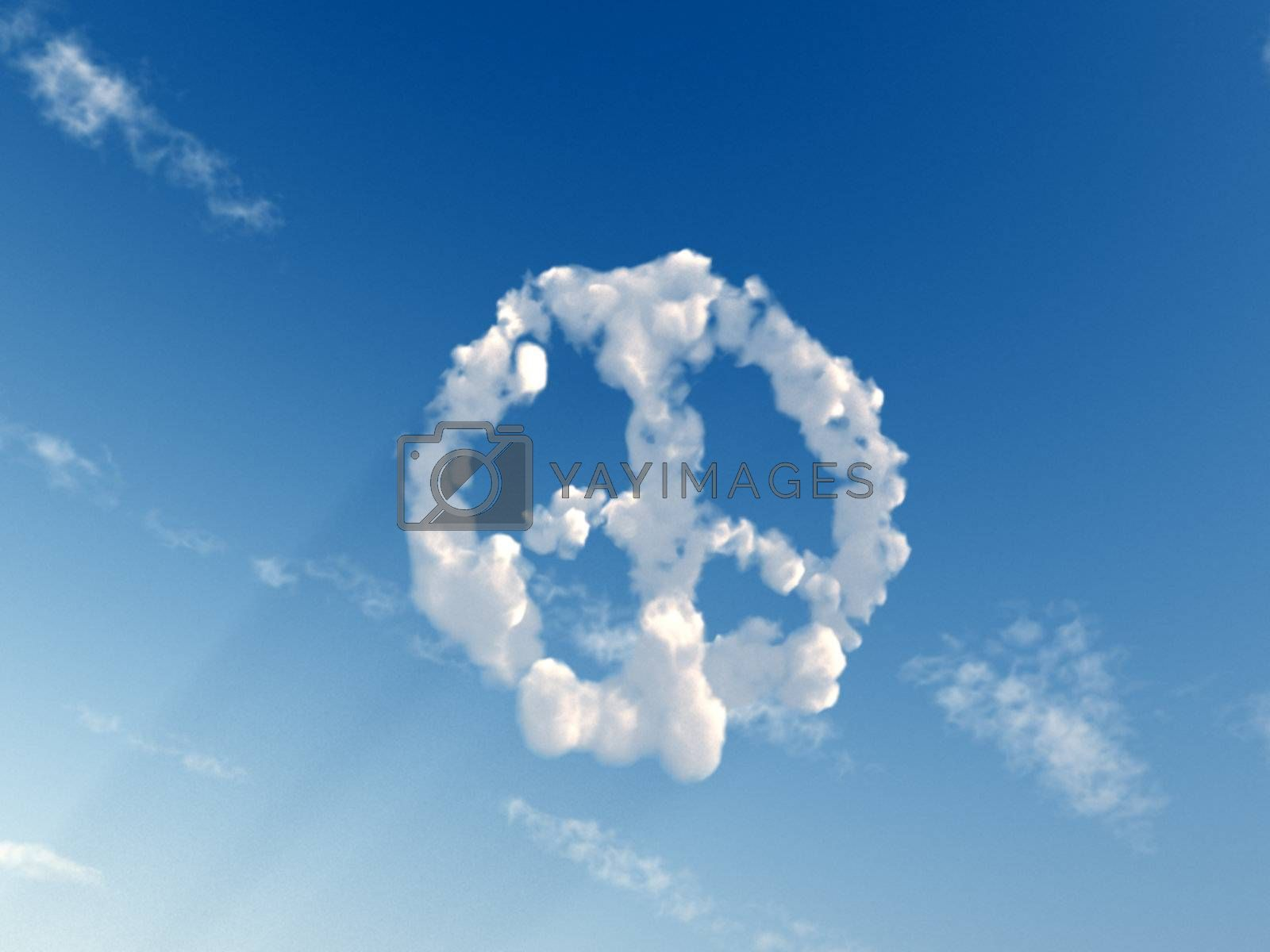 peace symbol on the sky - 3d illustration