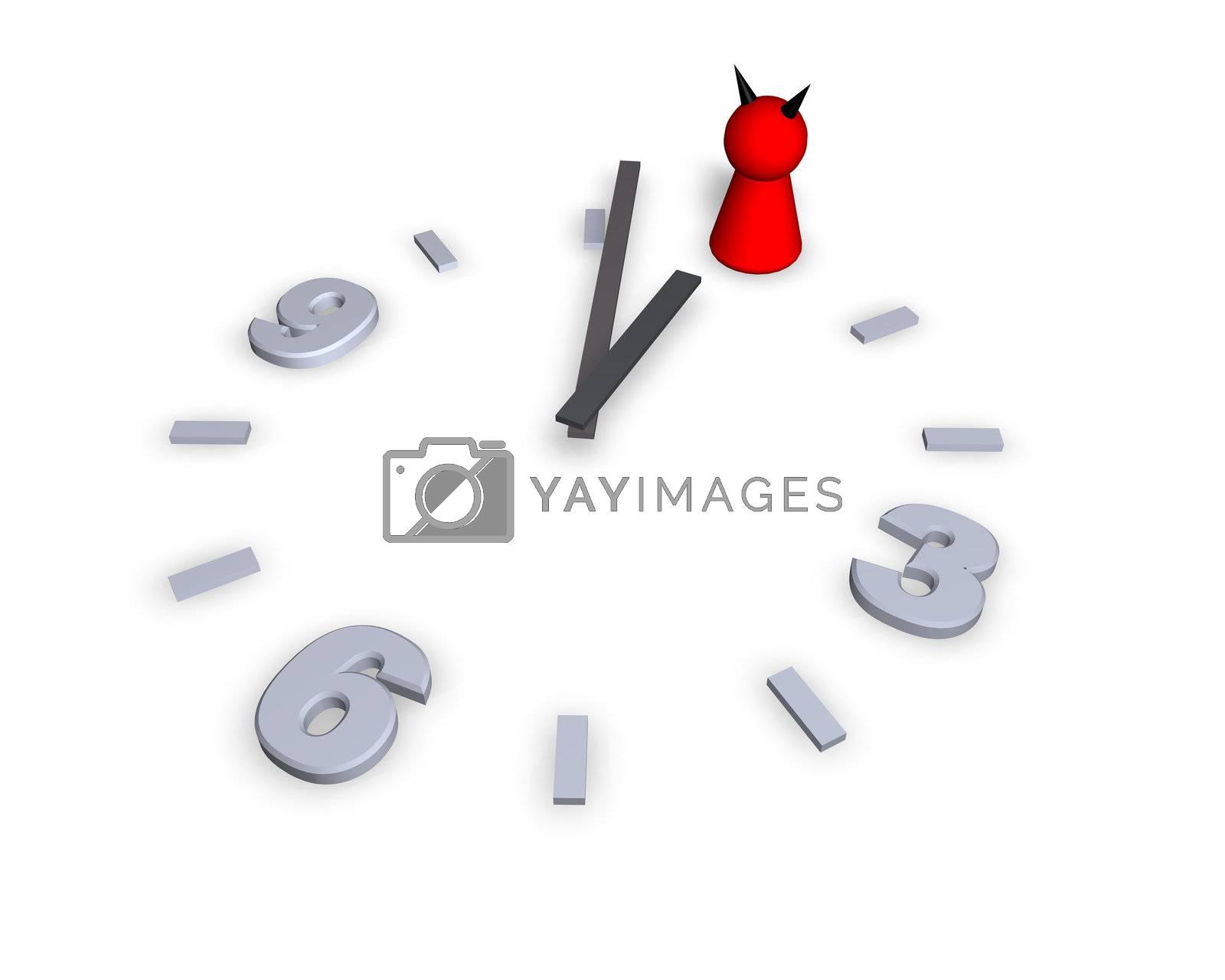 clock with devil play figure - 3d illustration