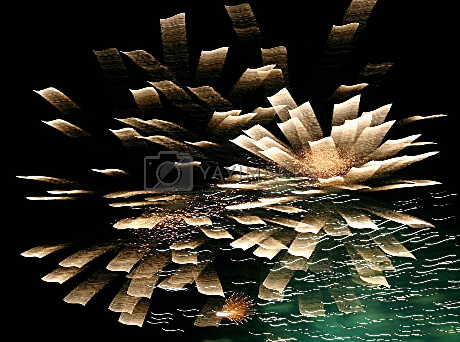 Splash from fireworks spreading like flower petals