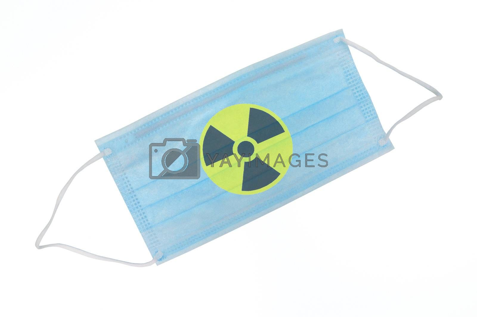 The medical mask isolated for protection from radioactive particles on the white background.