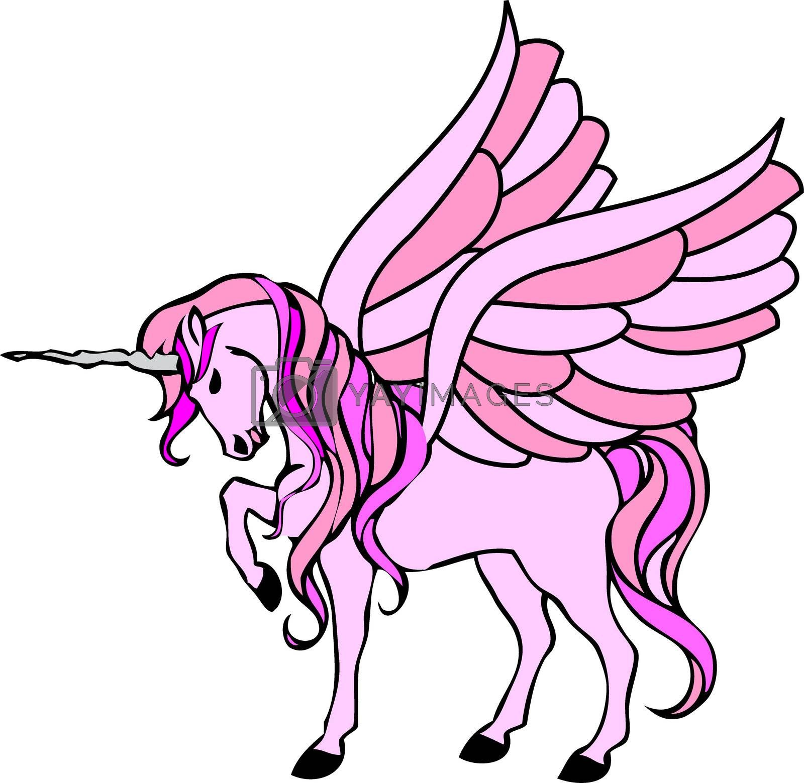 illustration of a pink unicorn with wings