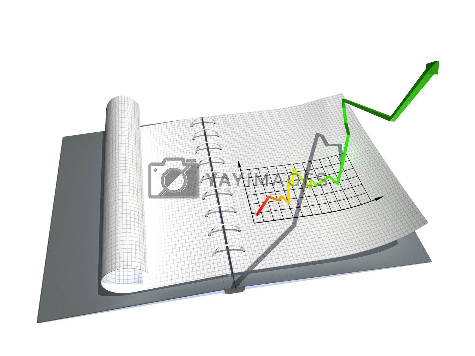 3d scene notebook with stylized by graph