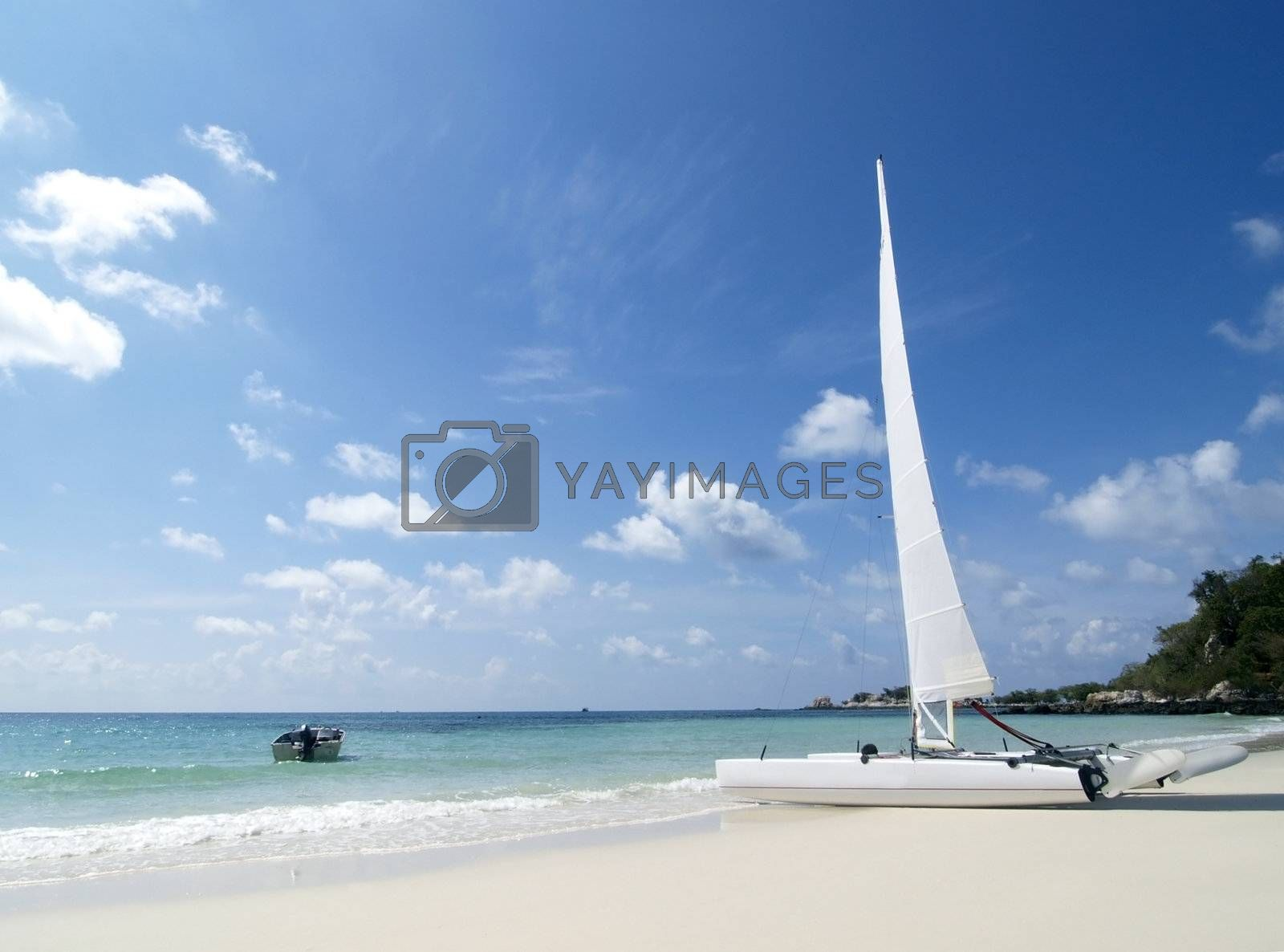 Catamaran on the beach by epixx