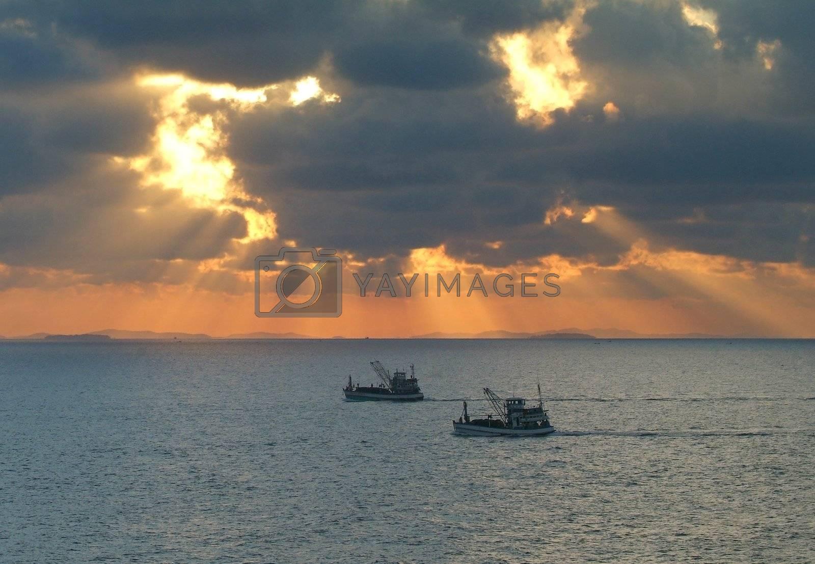 Fishing boats at sunrise by epixx