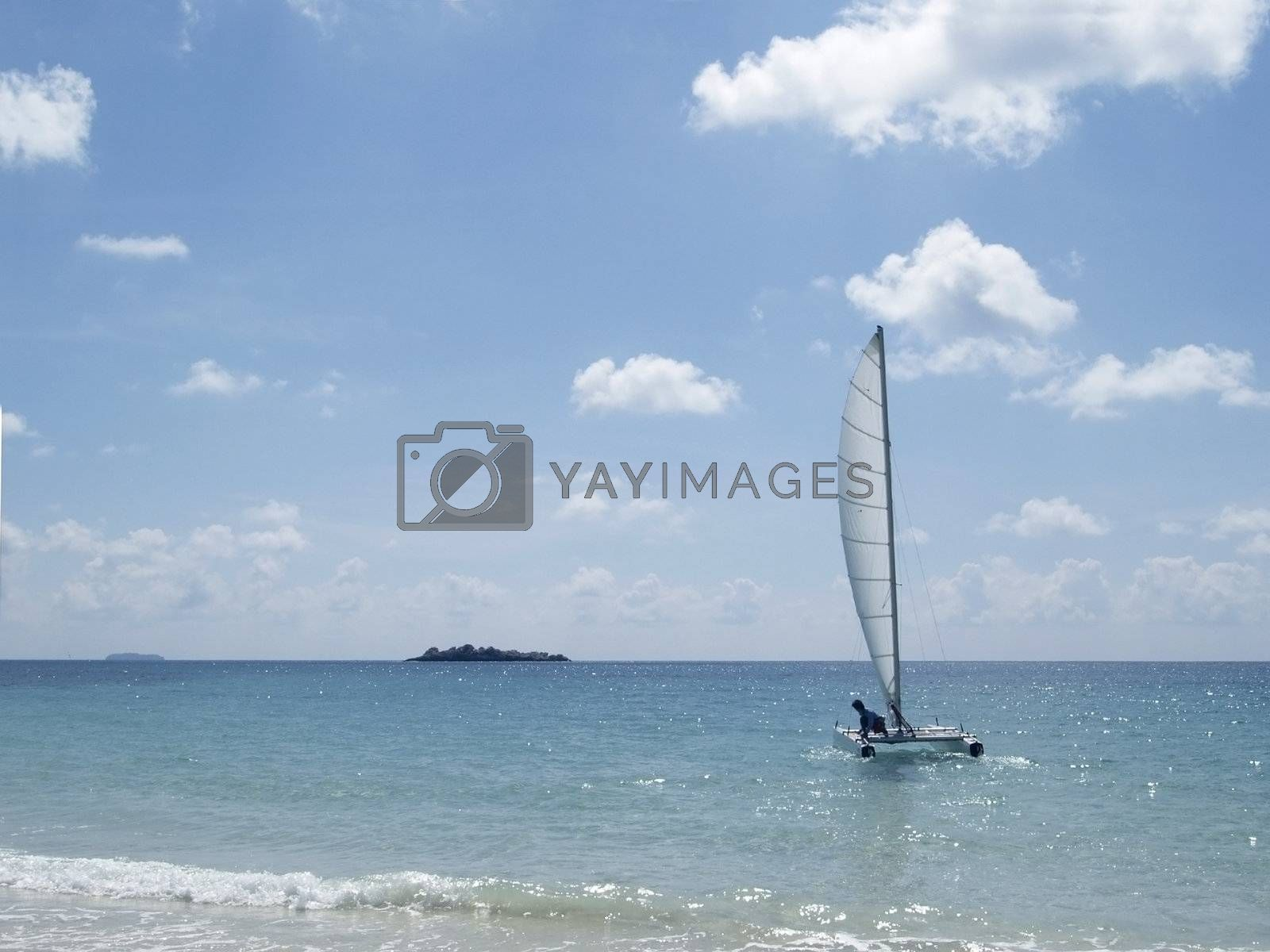 Catamaran at sea by epixx