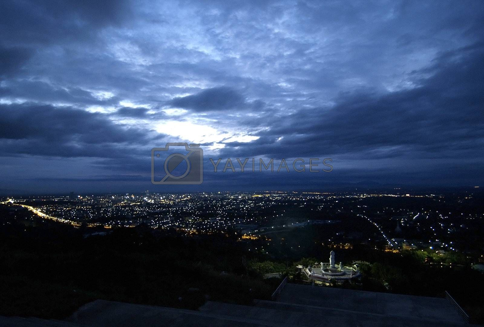 City panorama at night by epixx