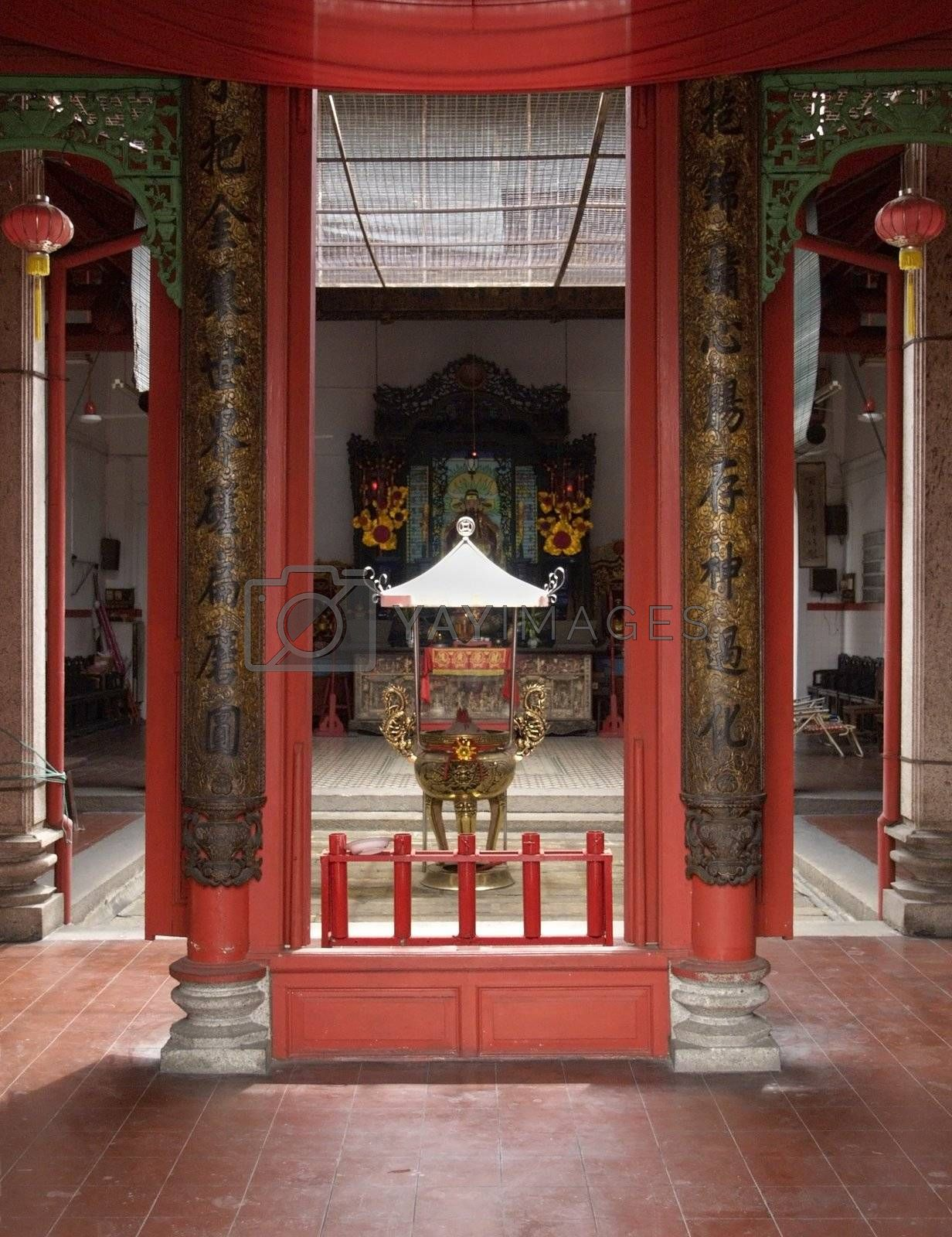 Interior of Chinese temple by epixx