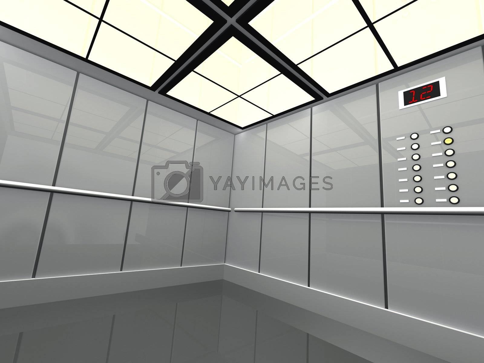Computer generated image - Large elevator .