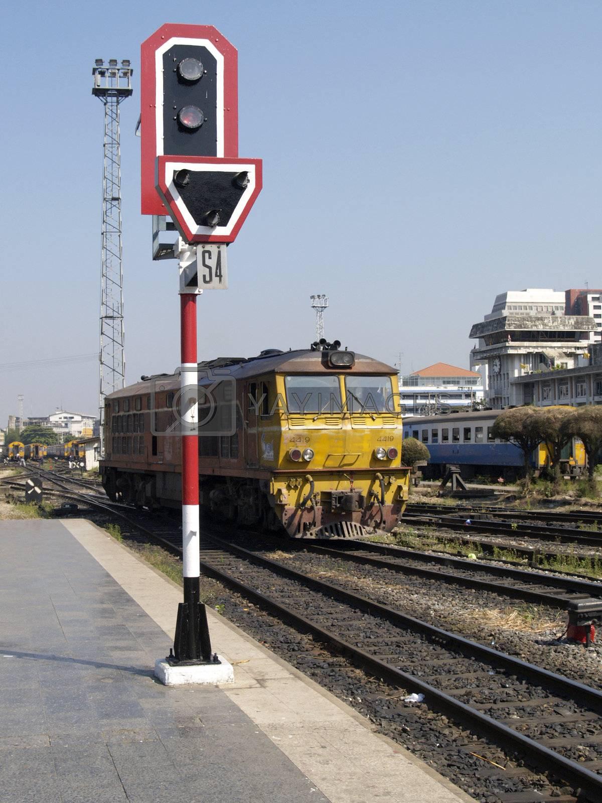 Railway signal and locomotive by epixx