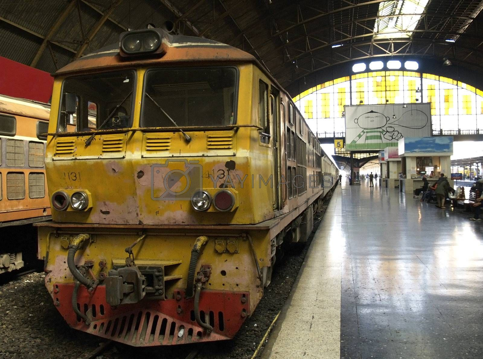 Railway train at station in Bangkok by epixx