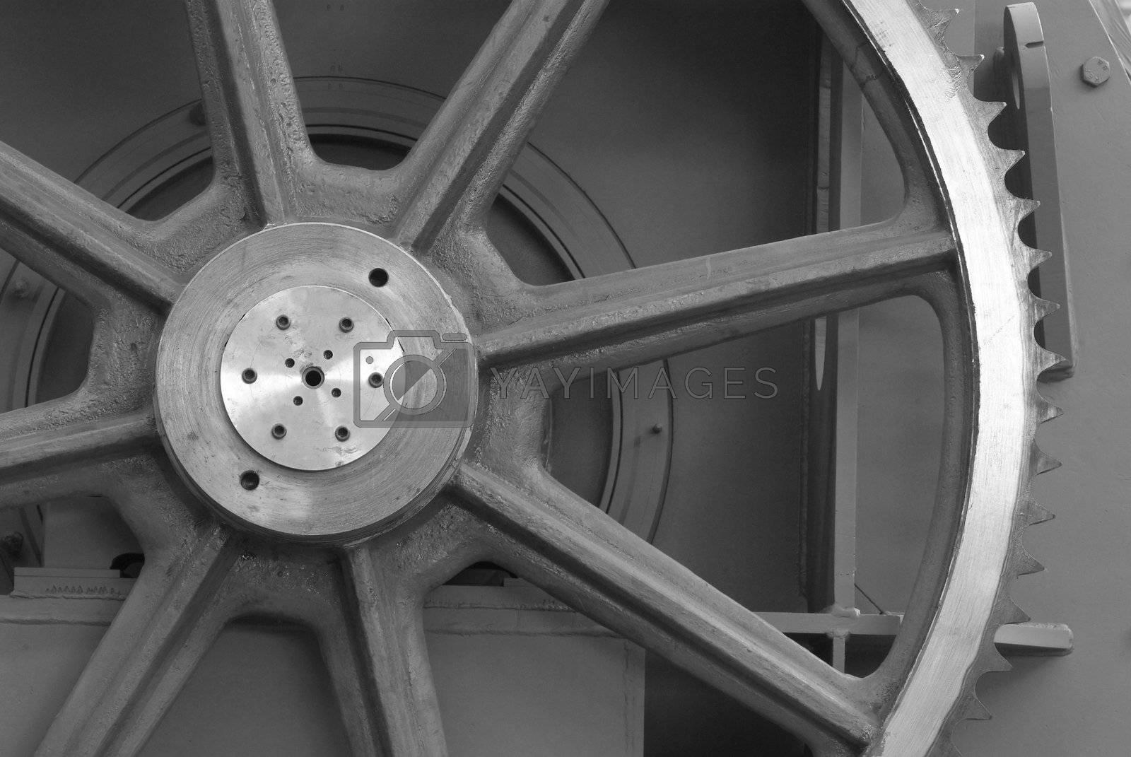 Detail of large cogwheel by epixx