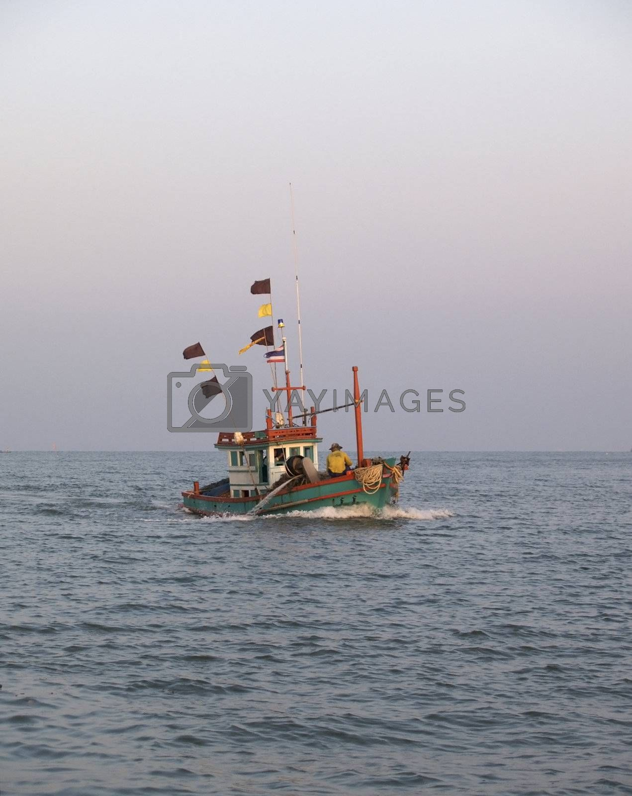 Fishing boat in the morning by epixx