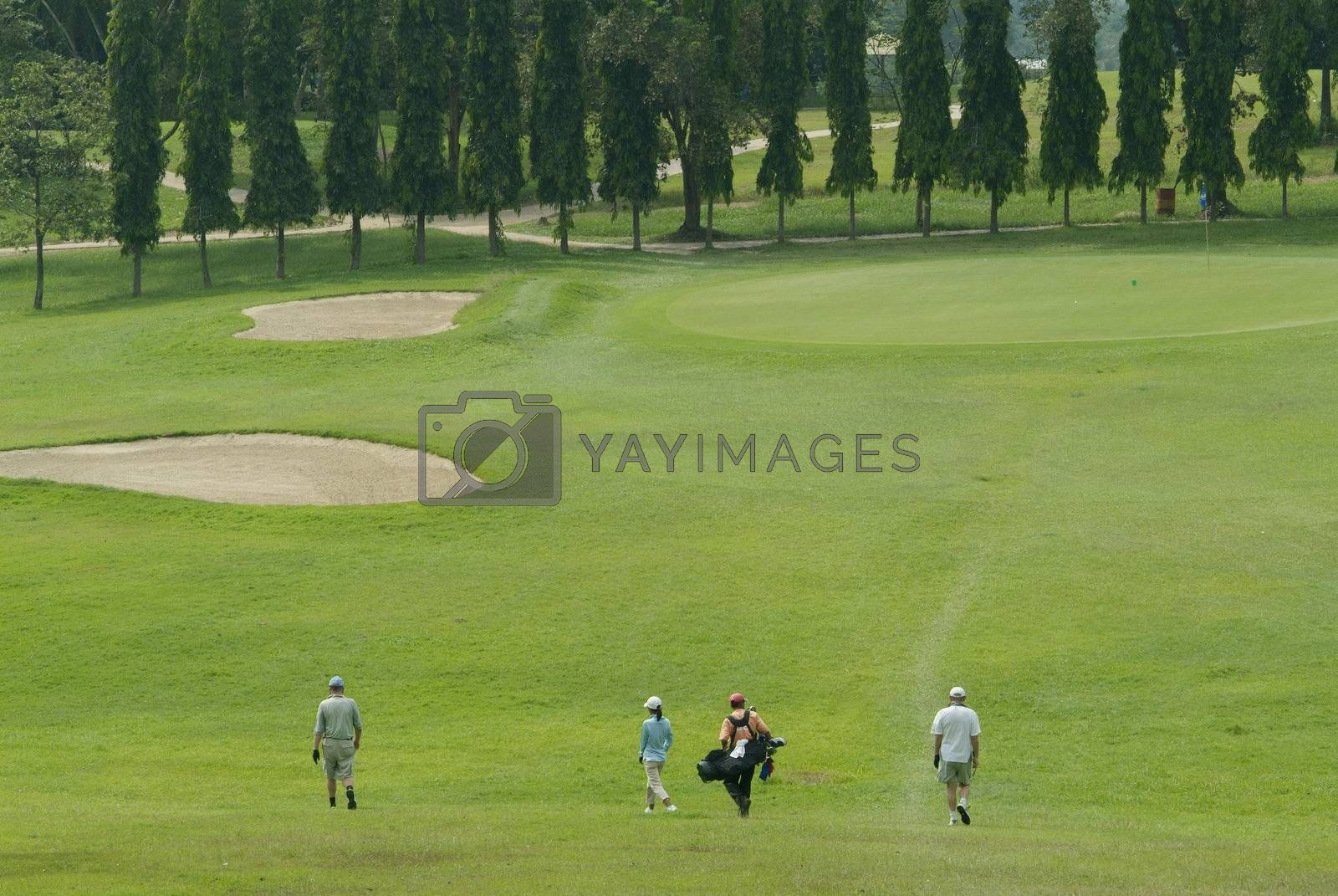 Golf players walking towards the green by epixx