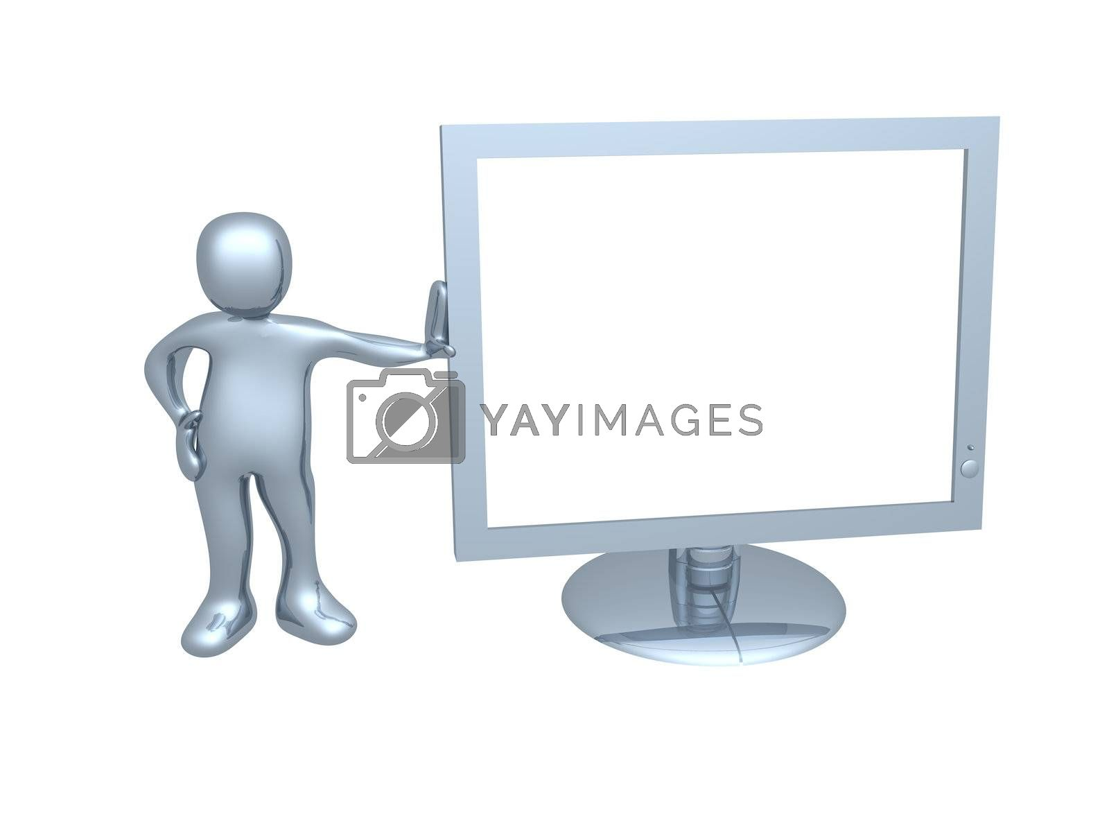 Royalty free image of Guy with computer monitor by 3pod