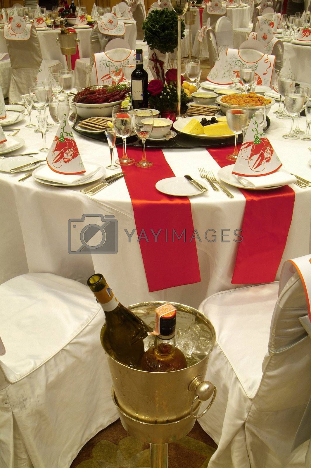Party table with food by epixx