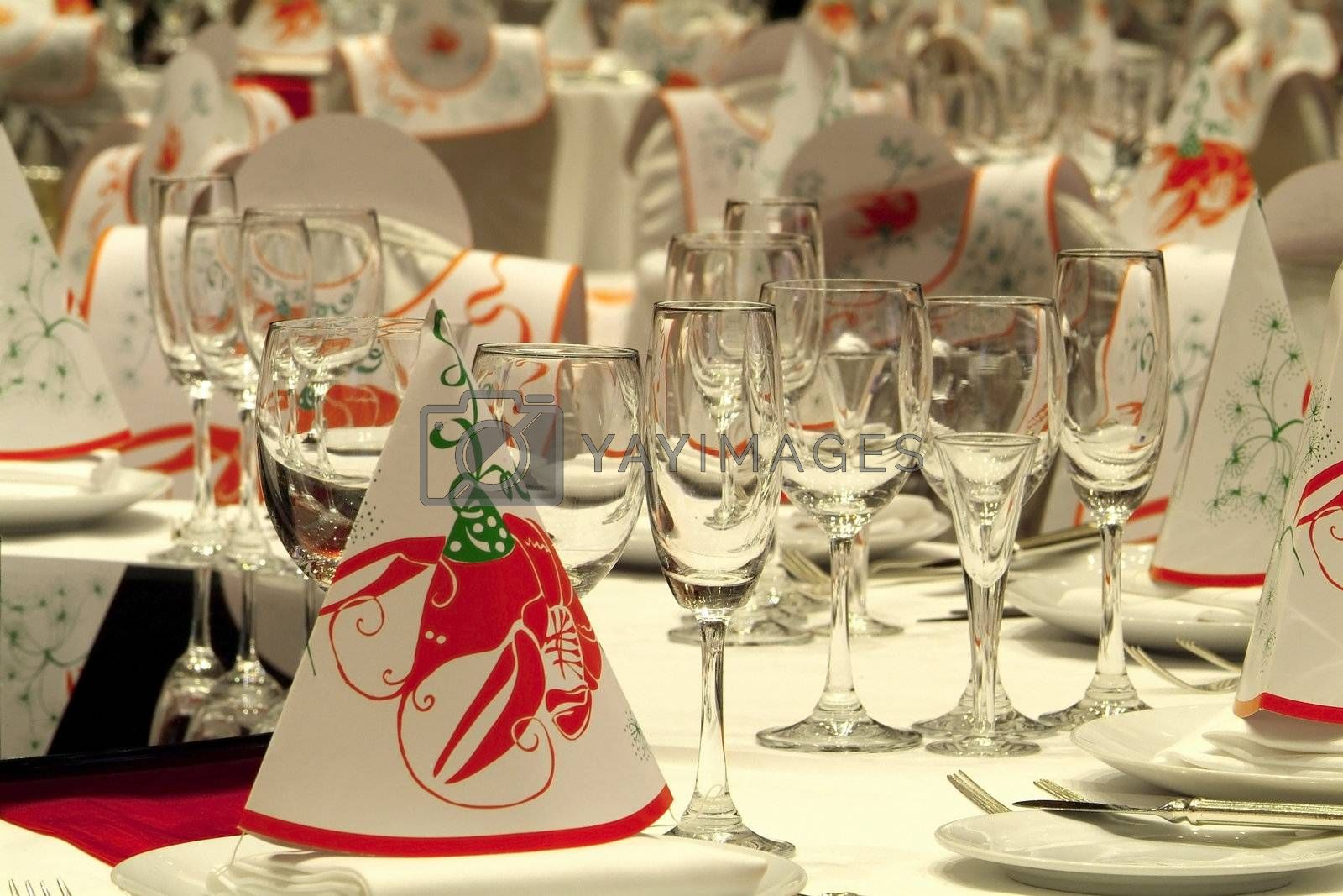 Tables prepared for a party by epixx
