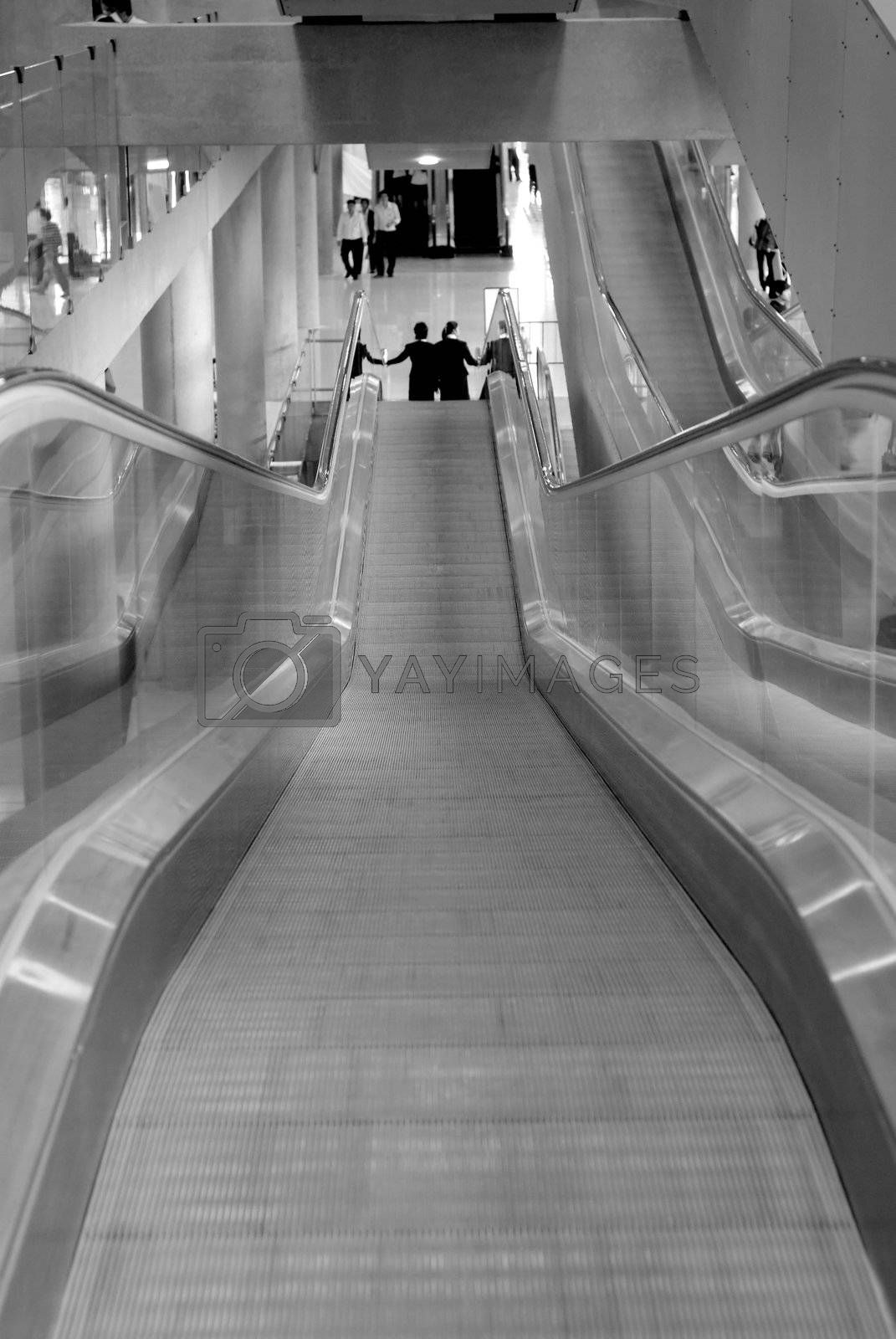 Escalators at airport by epixx