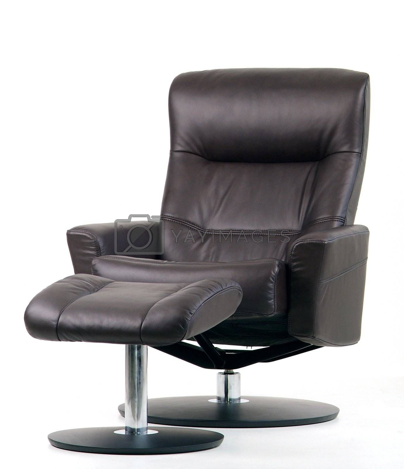 Black leather swivel recliner by epixx