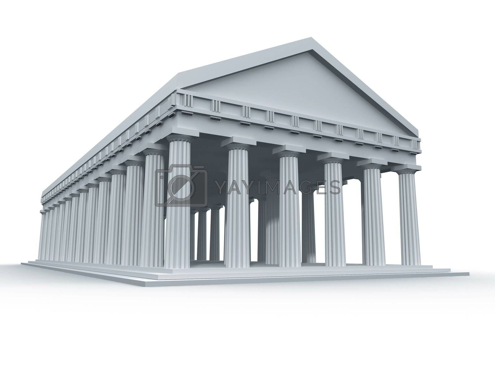 A computer generated ancient Greek temple.
