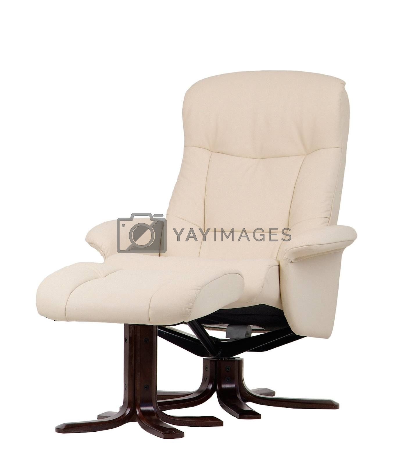Off-white leather recliner. by epixx